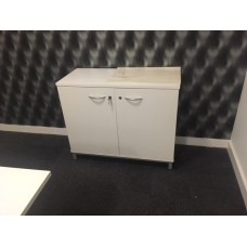 2 door white low cupboard / credenza